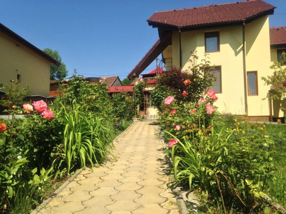 vacation house entrance and garden