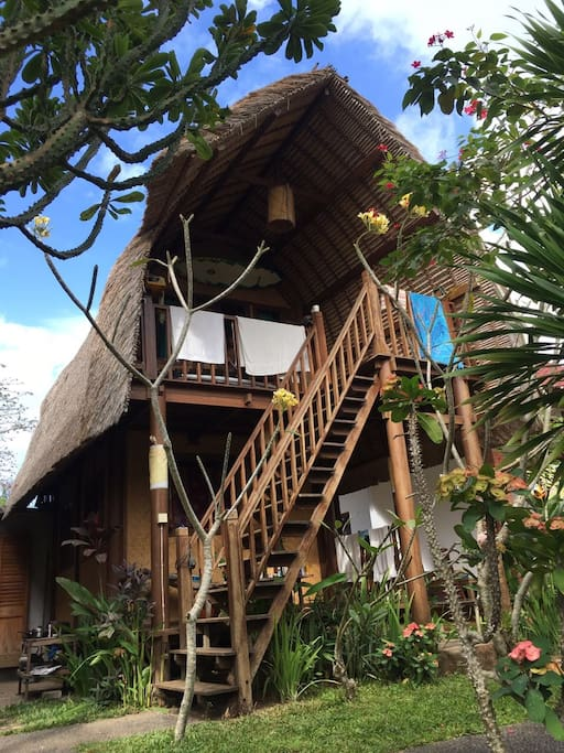 Bungalow made by coconuts tree and bamboo natural feeling