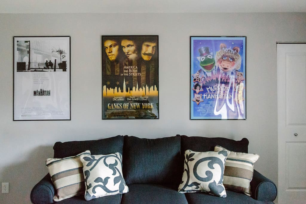 The living area reflects our New York theme with a celebration of New York cinema