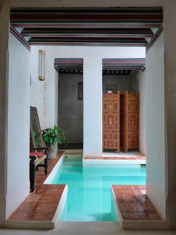 Pool exit into Massage room