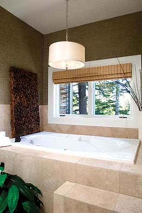 Great jacuzzi tub with view of the mountains!
