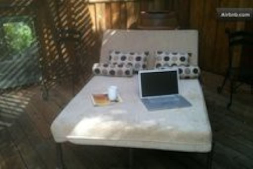 The chaise lounge on the back deck...the wifi works great out here.