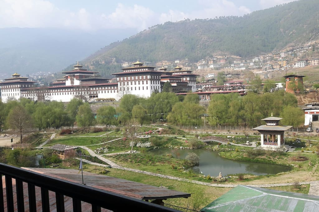 View of the dzong (fortress) and Ludrong garden from the balcony of the house