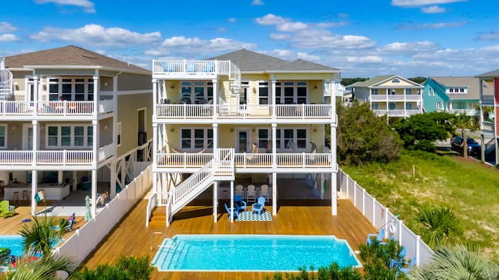 SHORE THING, HOLDEN BEACH WITH PRIVATE POOL,ELEVATOR, POOL TABLE AND TIKI BAR