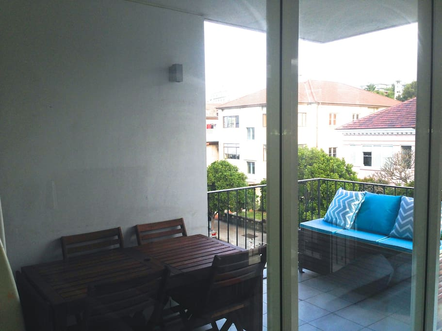 balcony with table for 10 people