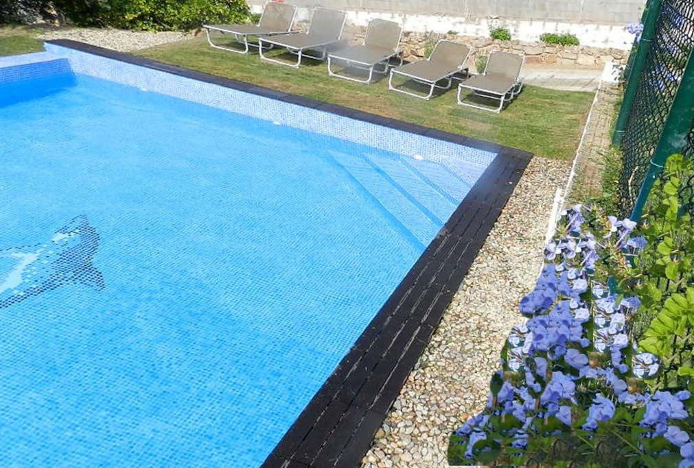 piscina privada con sol todo el día