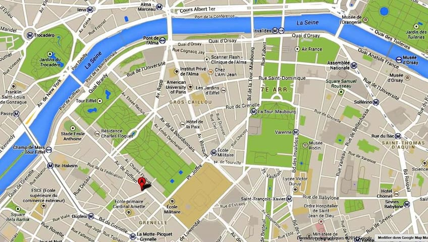 Location of the flat: Red spot Letter A at walking distance from Eiffel Tower