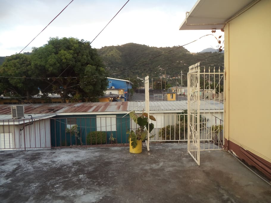 Balcony with partial view of the hills
