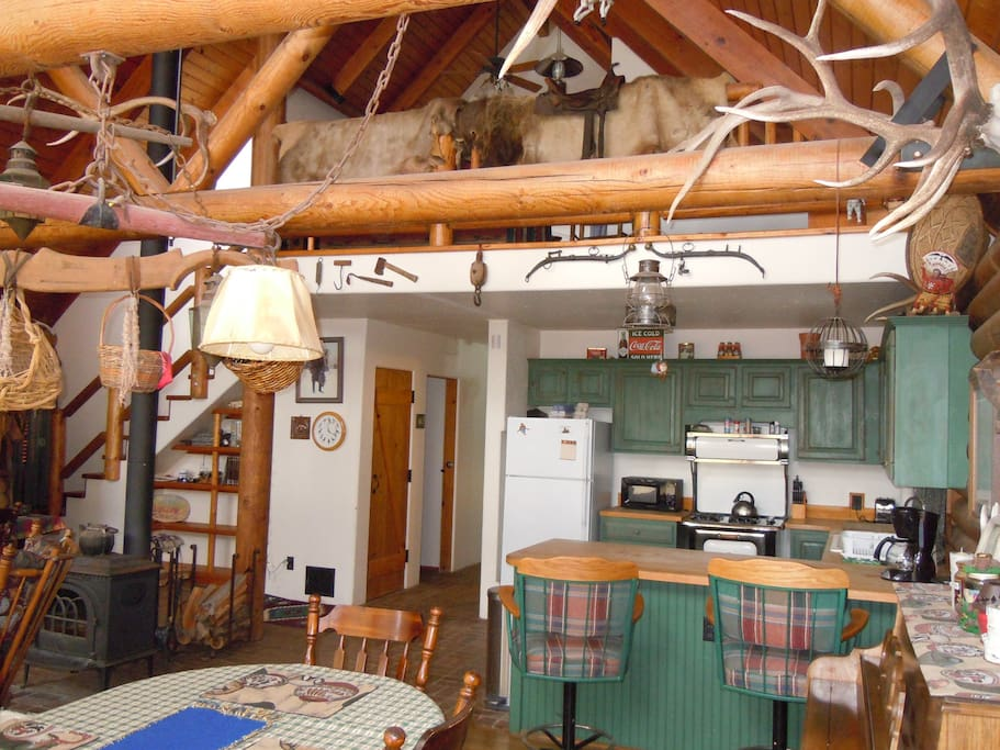 1 large common great room dining table, and kitchen.