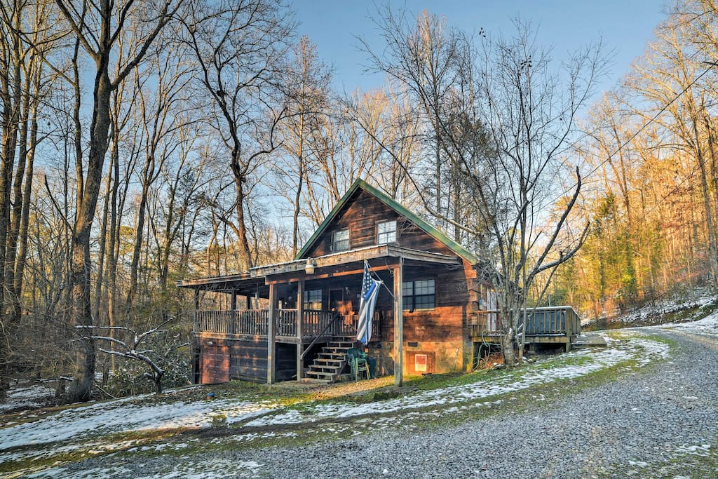 This cabin is situated on 25 private acres of natural beauty.