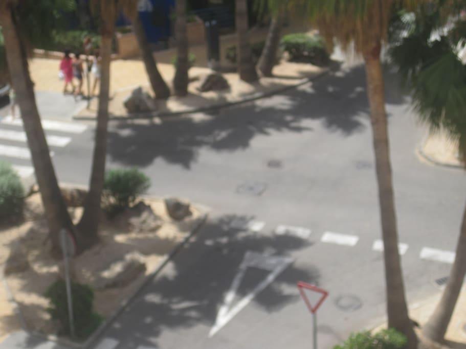 The street below leading to beach