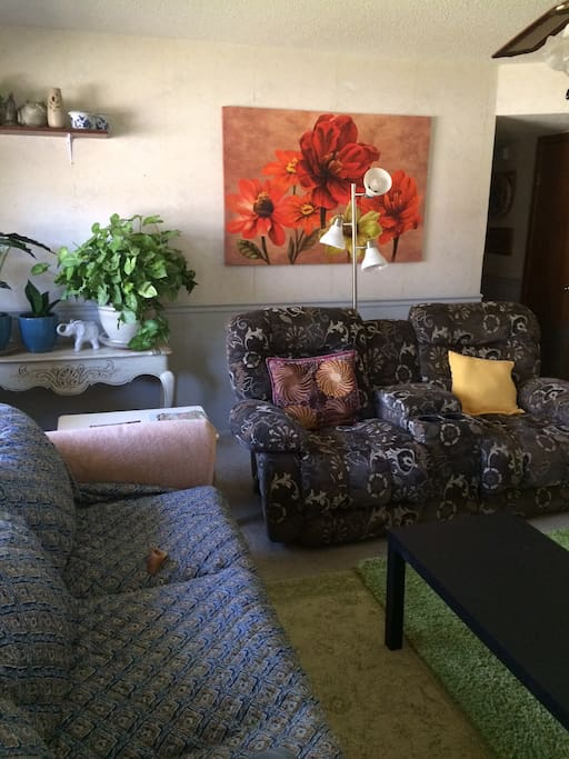 Share the living room with lots of seating and a 55 inch TV with DirectTV.