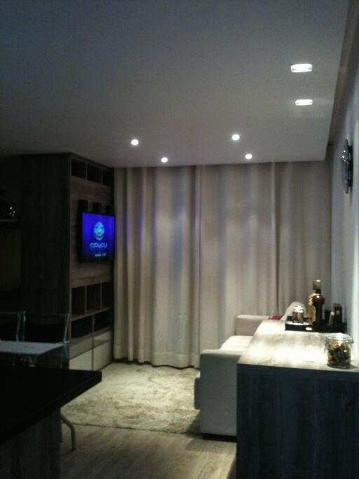 Iluminação decorativa da sala de estar.
