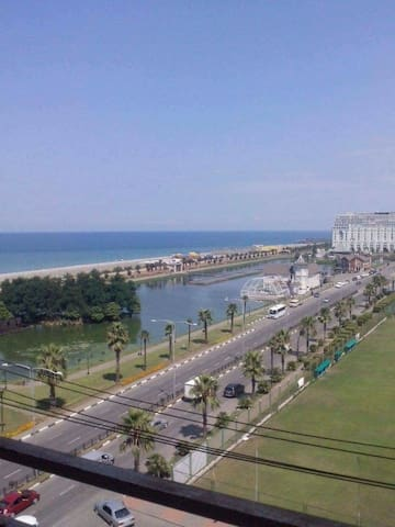 Batumi seaside beach. Adjarian house