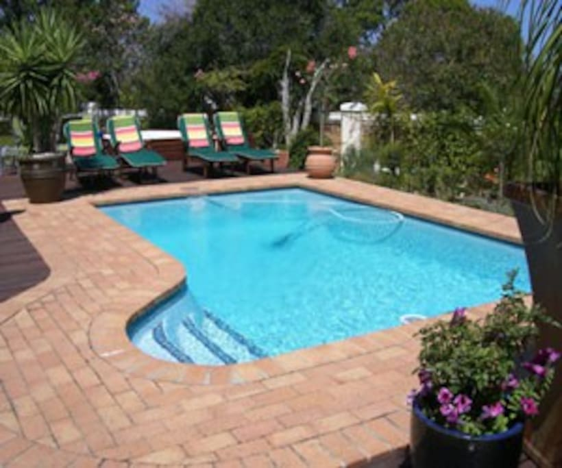 Pool, sundeck & Jacuzzi area