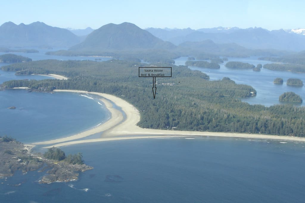 Aerial view of Chesterman Beach, arrow at our location.