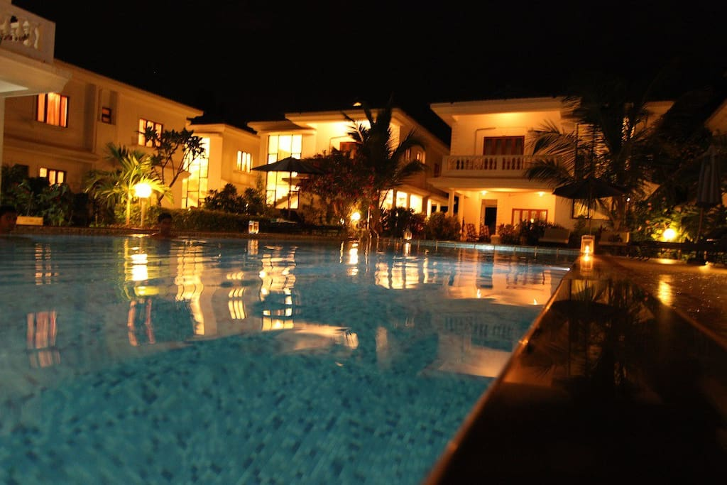 Evening Shot of the Pool and Villas