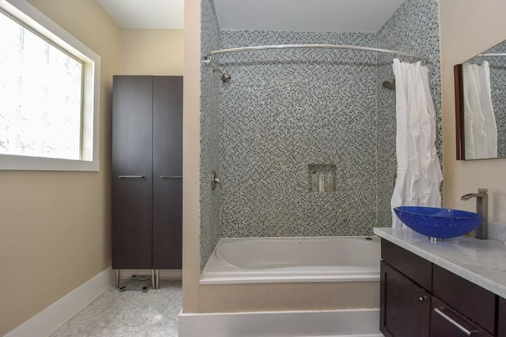 Gorgeous tile was inspired by a trip to Emiliano Reggiano region of Italy, as was the Carrera marble subway tile.
