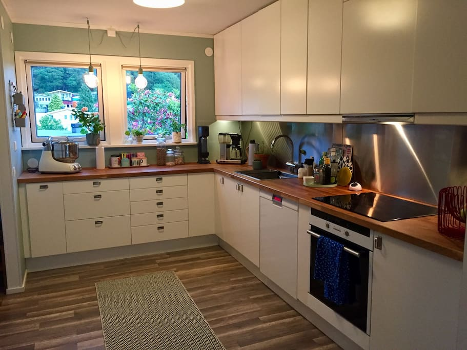 Modern kitchen with lots of work space. Oven, stove, microwave oven, coffee maker and soda streamer.