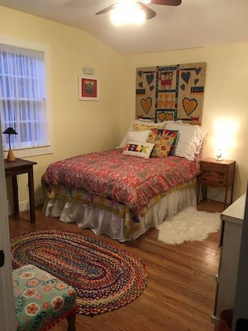 Your room has a cozy full size bed & sweetly decorated!