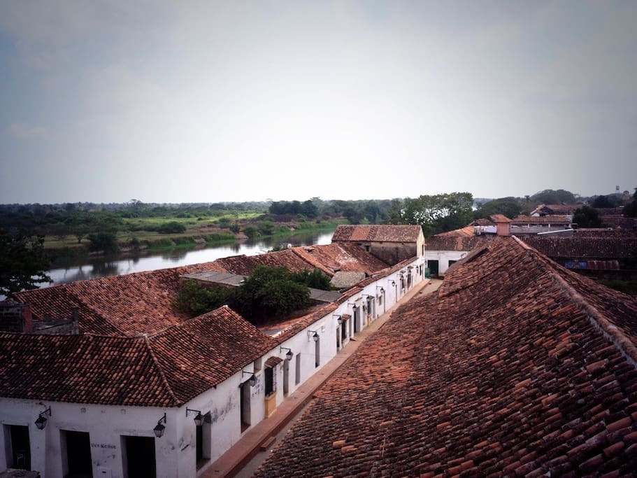 Mompox Historical quarters. The place is located on this section of the river.