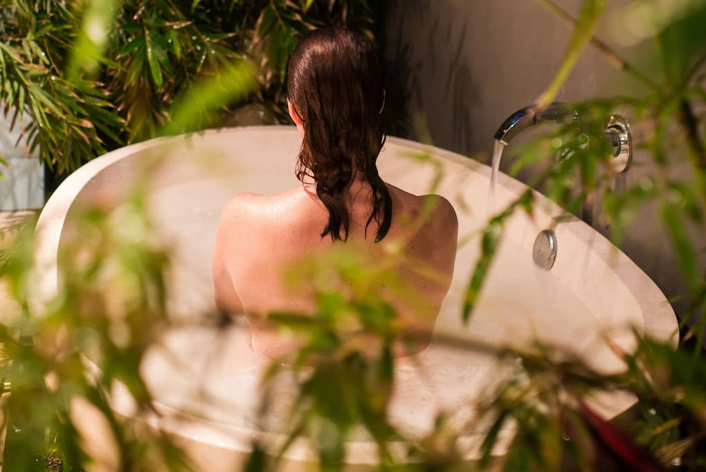 Our outdoor baths are private and tranquil