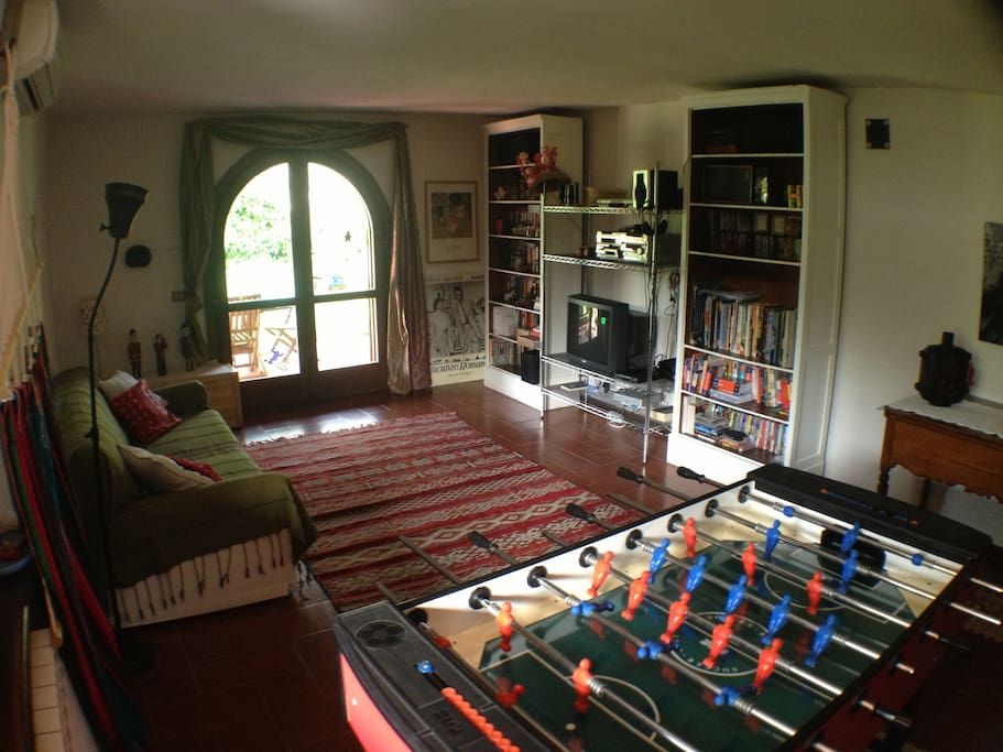 living room & fooseball