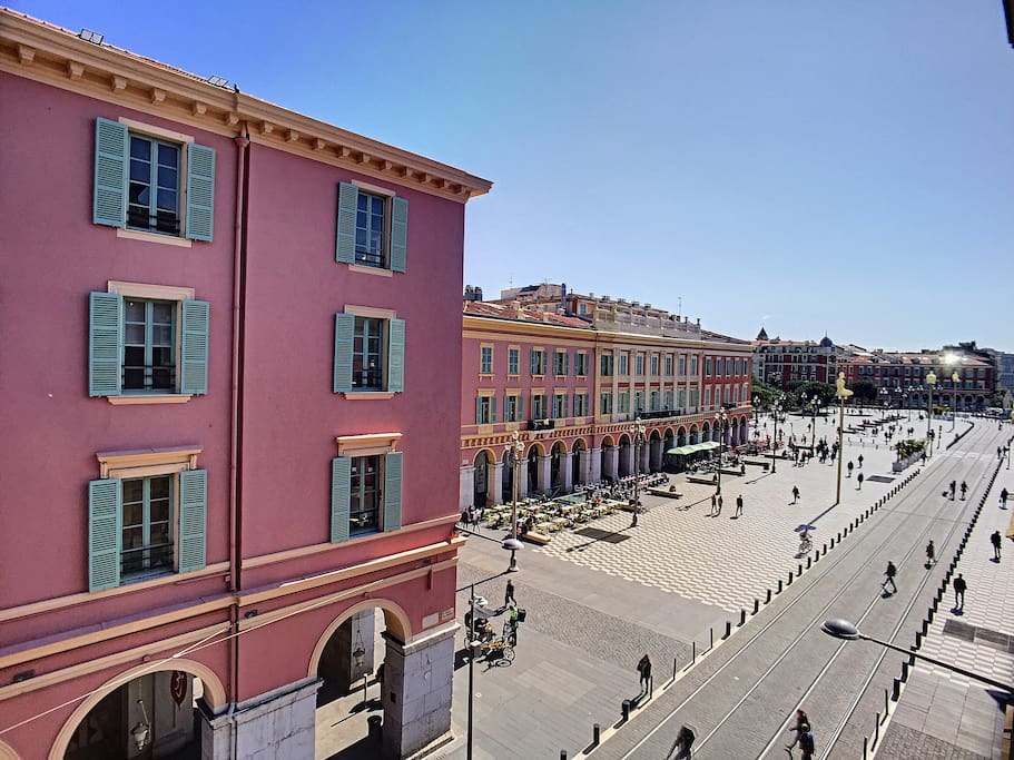 View of Nice's main street and the Massena Place.