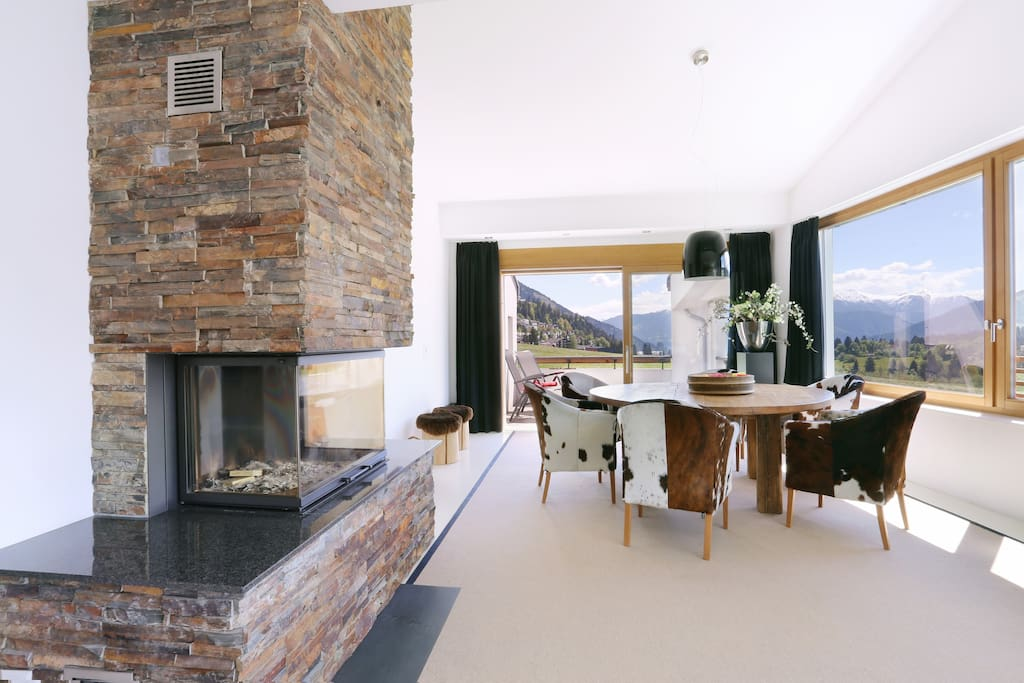 Panorama dining room with fire place