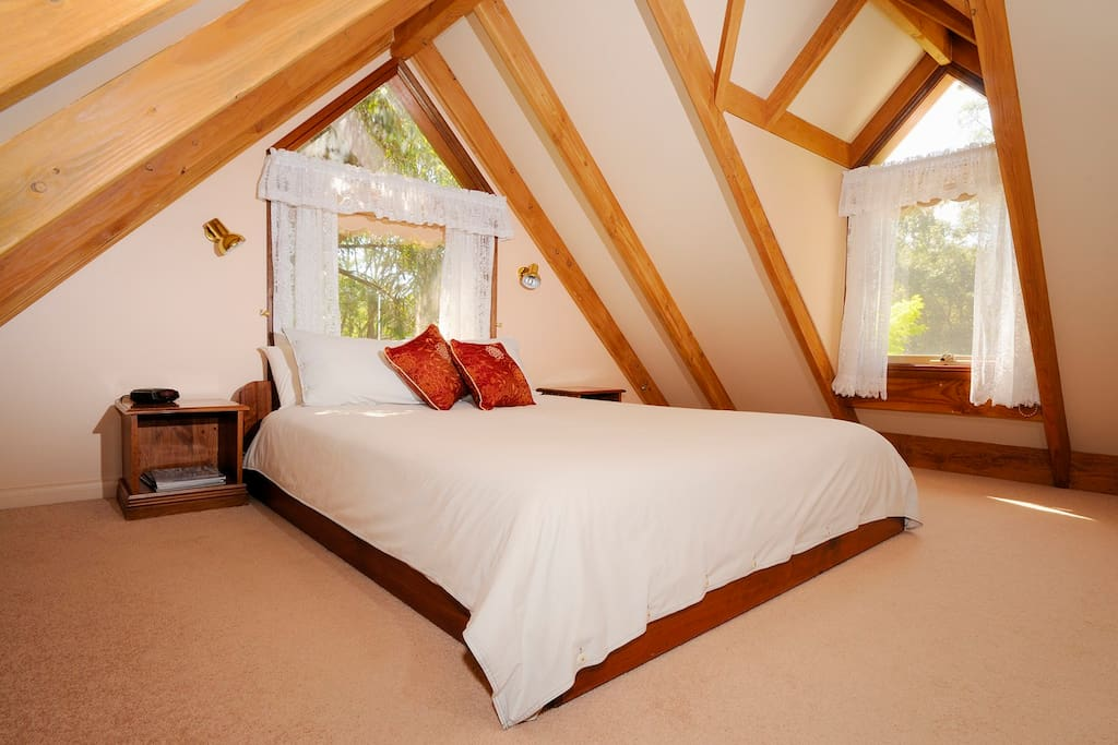 Here is one of our romantic Studio cottages. With cathedral style attic bedrooms, queen bed and gorgeous views it's great for a weekend away!