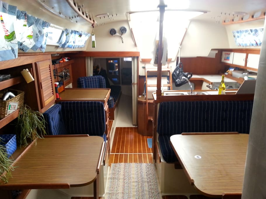 Forward looking aft in main cabin.
