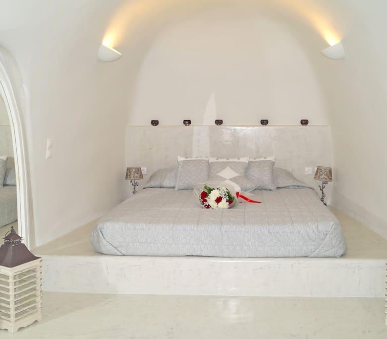 Your traditional bedroom in Santorini.