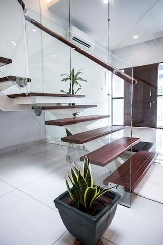 natural timber and steel staircase
