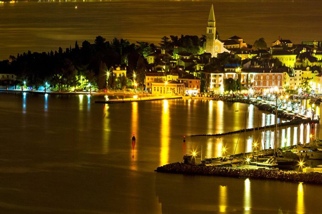 Mediterranean town of Izola by night