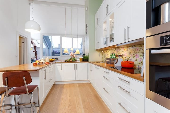 Central, Spacious Loft Apartment with Roof Terrace