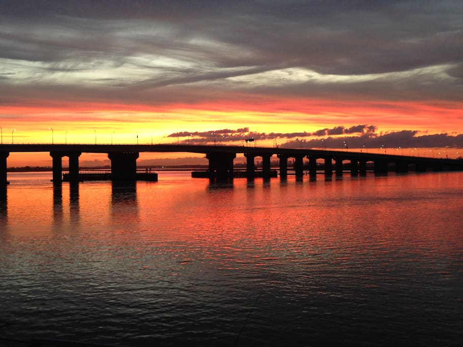 Bridge view at sunset from your balcony.