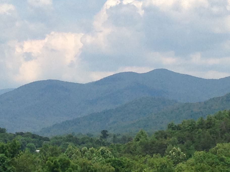 View of the mountains on the way to the cabin.