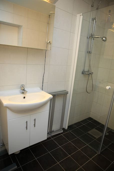New and fresh bathroom (WC equal standard in other room)