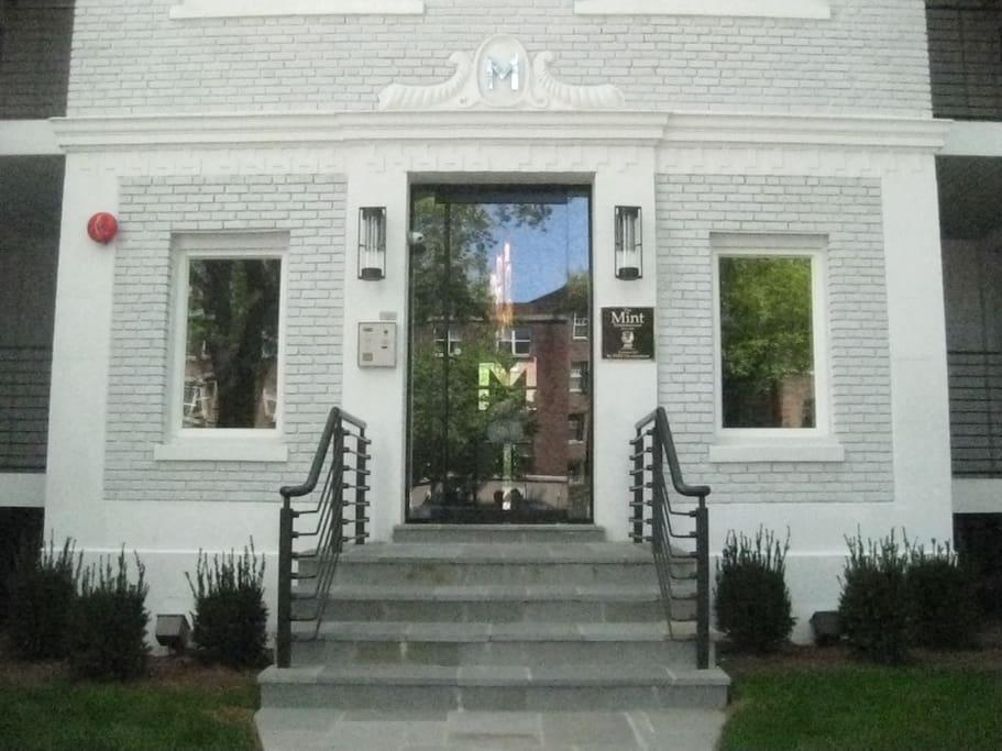 Entrance to the Mint Condominium