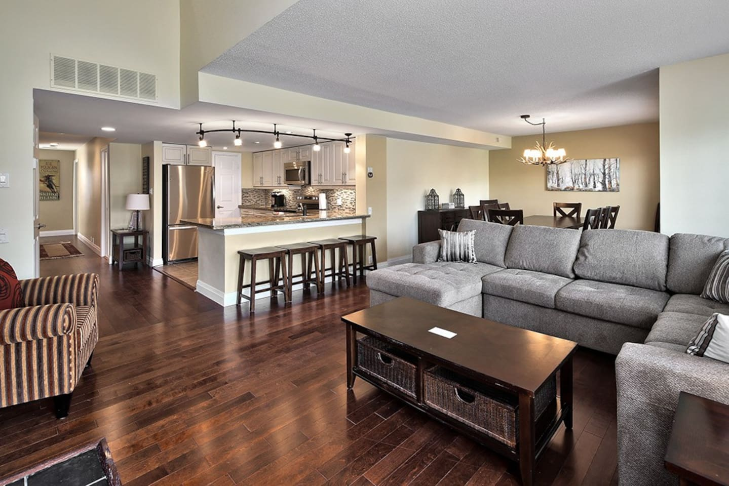 Extensive open concept living area including kitchen, living room and dining room