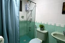 Bathroom with hot and cold shower.