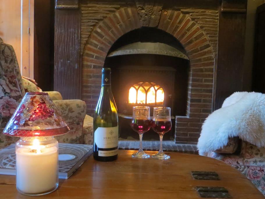 Salon privé pour les invités avec poêle à bois. Warm and cosy private lounge with a woodburning fire.
