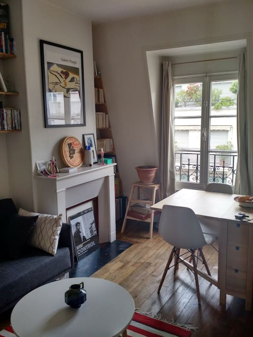 A nice living room where you can eat, watch movies or drink some French wine sitting on the sofa