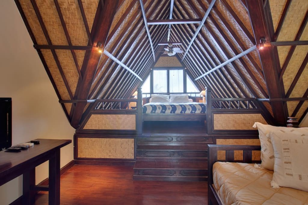 """The loft bedroom has a daybed or extra single bed all rooms have satellite TV 42"""" flat screen TV with DVD player"""