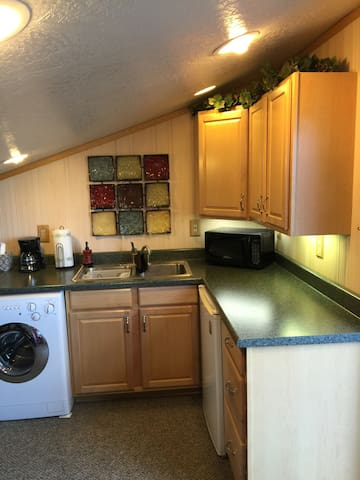 Kitchenette, showing sink area, countertop and washer/dryer