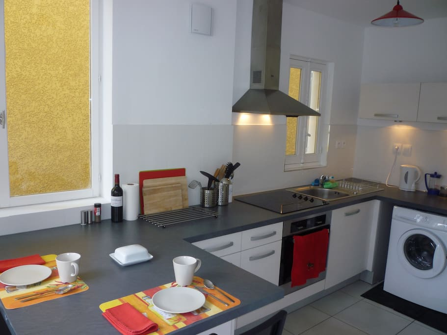 The kitchen provides plenty of preparation space along with use of a wide range of amenities.