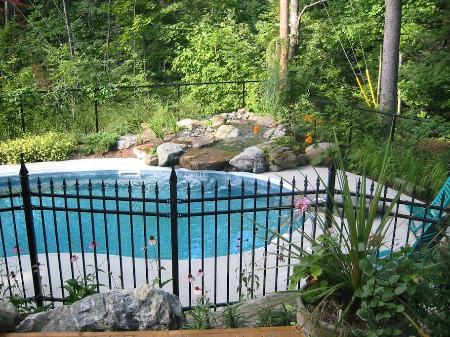 Grand patio avec BBQ et ayant vue sur la piscine.