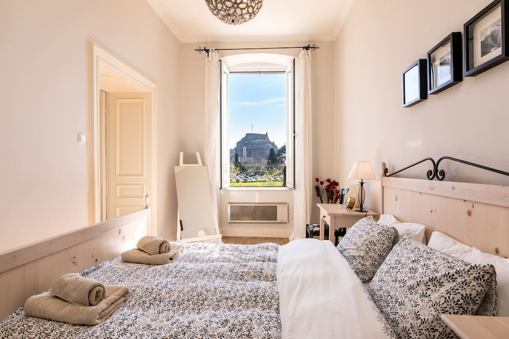 Master bedroom, overlooking the old fortress.