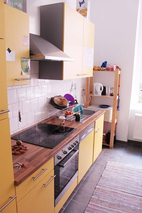 Kitchen, shared with my 2 housemates, small but a lot of kitchen utensils.