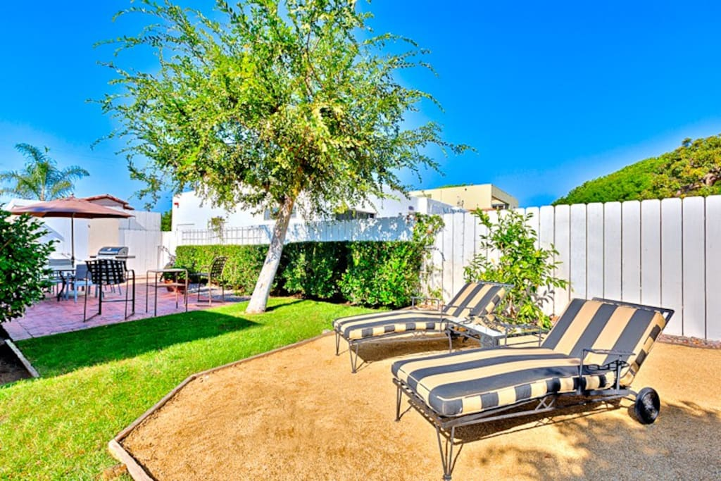 Private backyard for lounging and basking in the amazing Southern California sunshine!